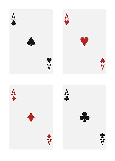 The four aces in a deck of cards, on a white background stock photo