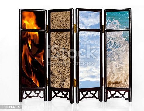 istock The four basic elements of fire, earth, air and water on an oriental screen 1094437282