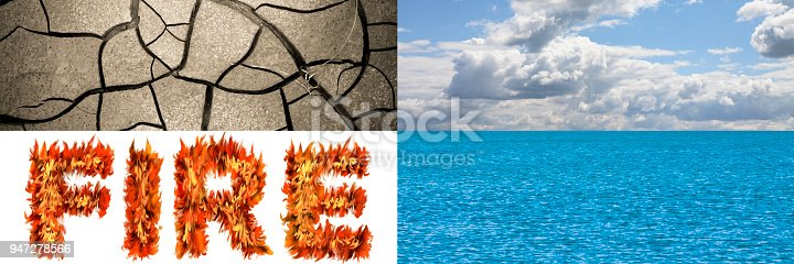 istock The four elements in nature: earth, air, fire, water - concept image with copy space 947278566
