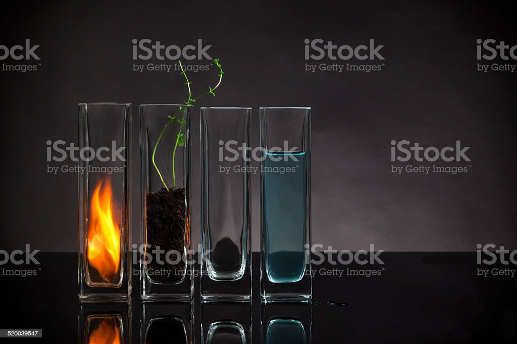 The four elements still-life stock photo