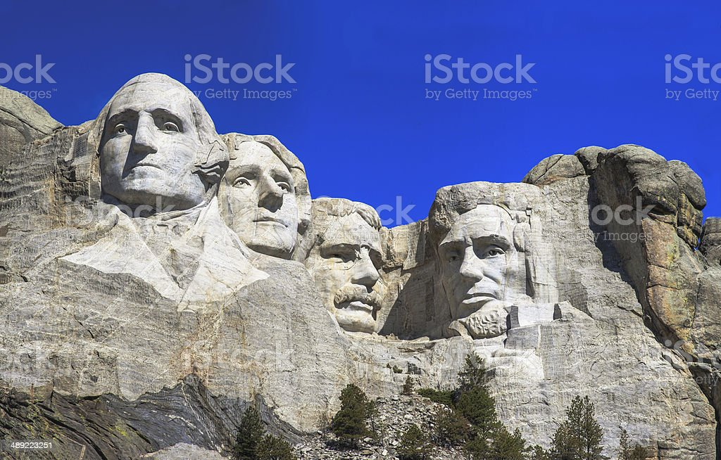 The four presidents at Mount Rushmore in South Dakota stock photo