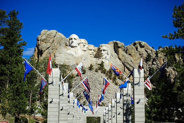 The four presidents at Mount Rushmore in South Dakota George Washington 1st President, Thomas Jefferson 3rd President, Theodore Roosevelt  26th President, Abraham Lincoln  16th President mount rushmore stock pictures, royalty-free photos & images