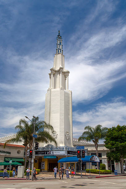 The Fox Village Theater Los Angeles, United States - July 28, 2014: The Fox Village Theater. The Fox Theater, Westwood Village, also known as the Fox Village Theater, is a historic, landmark cinema in Westwood, Los Angeles. ucla medical center stock pictures, royalty-free photos & images
