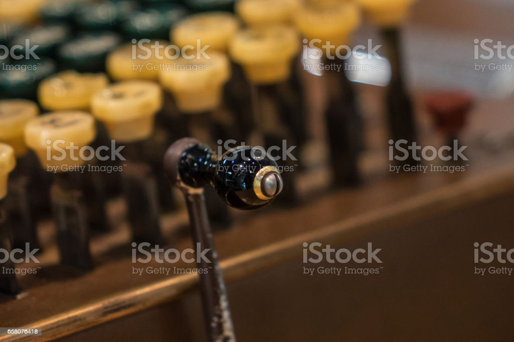 The fragment of old and vintage adding machine royalty-free stock photo