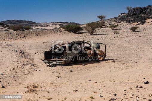 Frames of burnt vehicles are ubiquitous roadside in Saudi Arabia. May 2019.