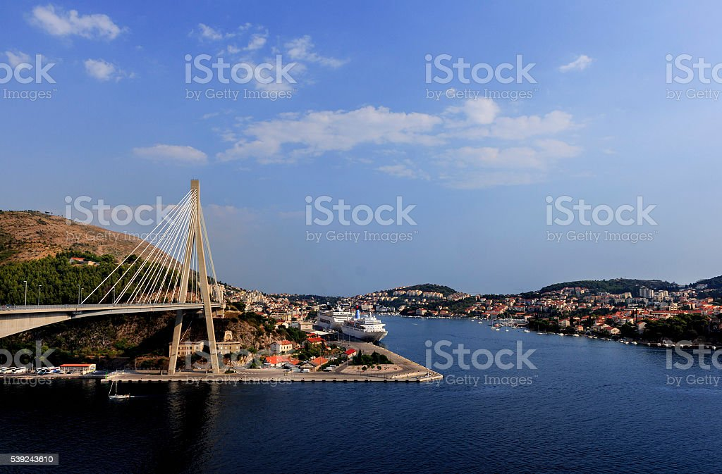 The Franjo Tudman Bridge, and the port Gruz royalty-free stock photo