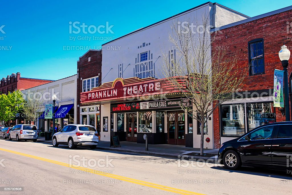 The Franklin Theatre on Main Street in downtown Franklin, Tennessee royalty-free stock photo