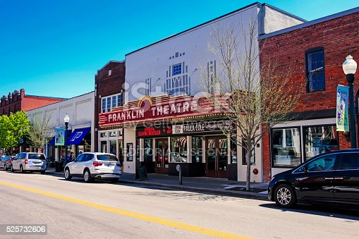Franklin, TN, USA - April 4, 2016: The Franklin Theatre on Main Street in downtown Franklin, Tennessee