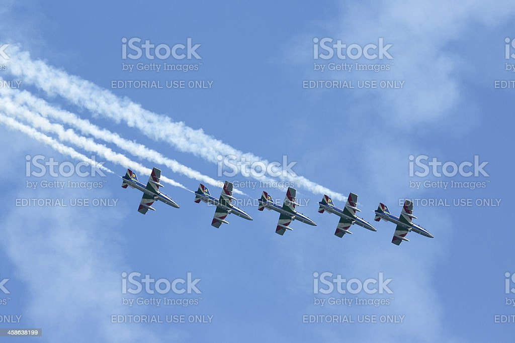 The Frecce Tricolori aerobatic display team, Lido di Ostia Italy royalty-free stock photo