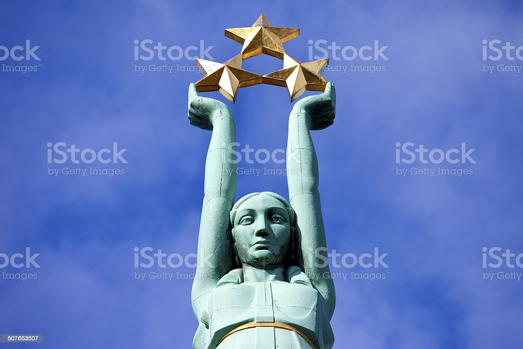 The Freedom Monument in Riga stock photo