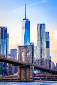 The Freedom Tower and Brooklyn Bridge, shot from Brooklyn, NY. USA.