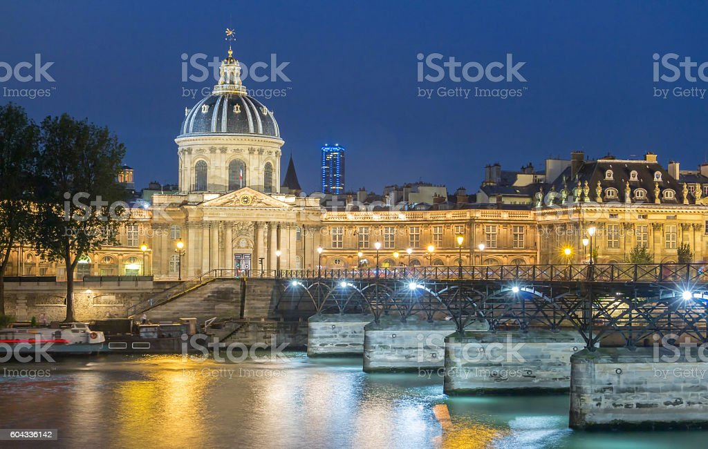 The French Academy et pont des Arts , Paris, France. stock photo