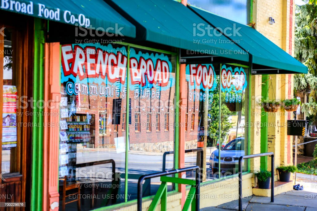 The French Broad Food Co-Op store in downtown Asheville NC, USA stock photo