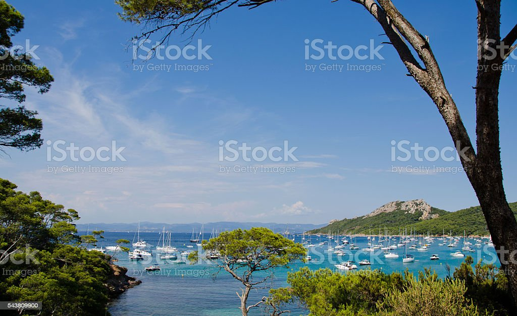 the French islands porquerolles and his blue tropical sea stock photo