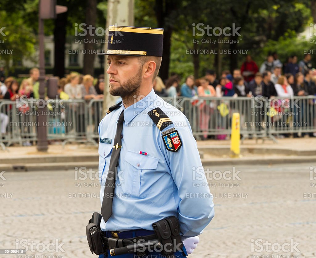 The French policeman on duty in Bastille Day parade. stock photo