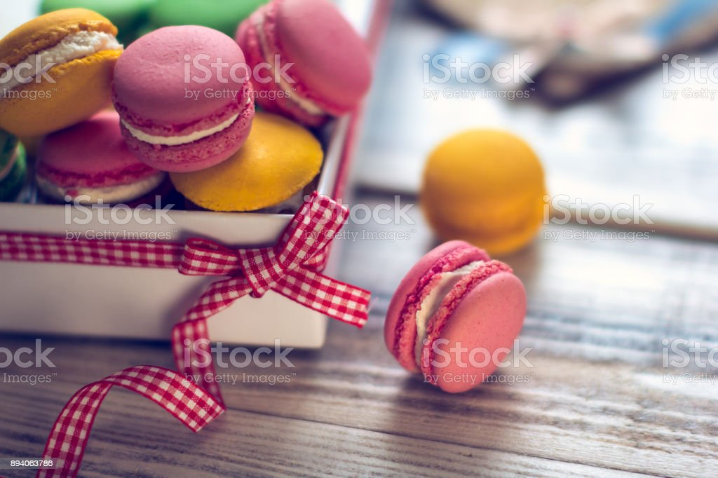 the French tradition - colorful macaroons stock photo