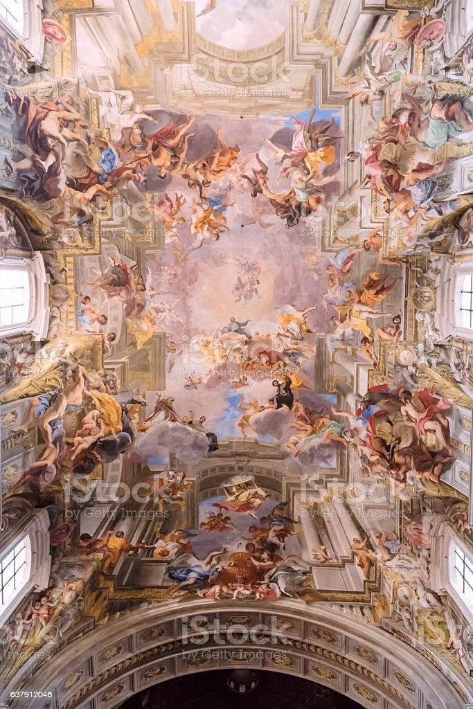 The fresco of the ceiling of Sant'Ignazio Church in Rome stock photo