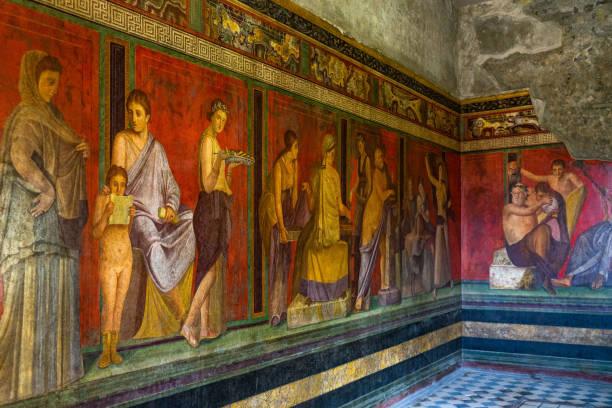 The frescoes of Villa dei Misteri (Villa of the Mysteries), an ancient Roman villa at Pompeii ancient city, Italy stock photo