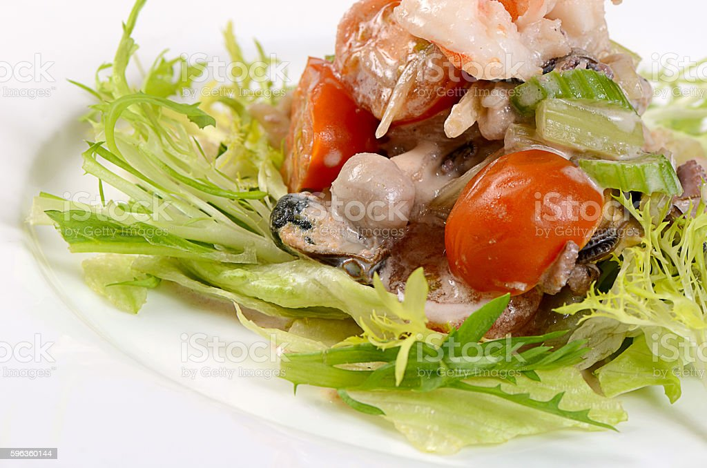 The fried seafood with vegetables close-up royalty-free stock photo