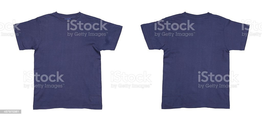 The front and back of a blue men's t-shirt stock photo