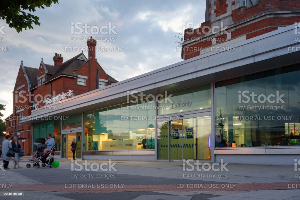 The front entrance to Basingstoke station stock photo