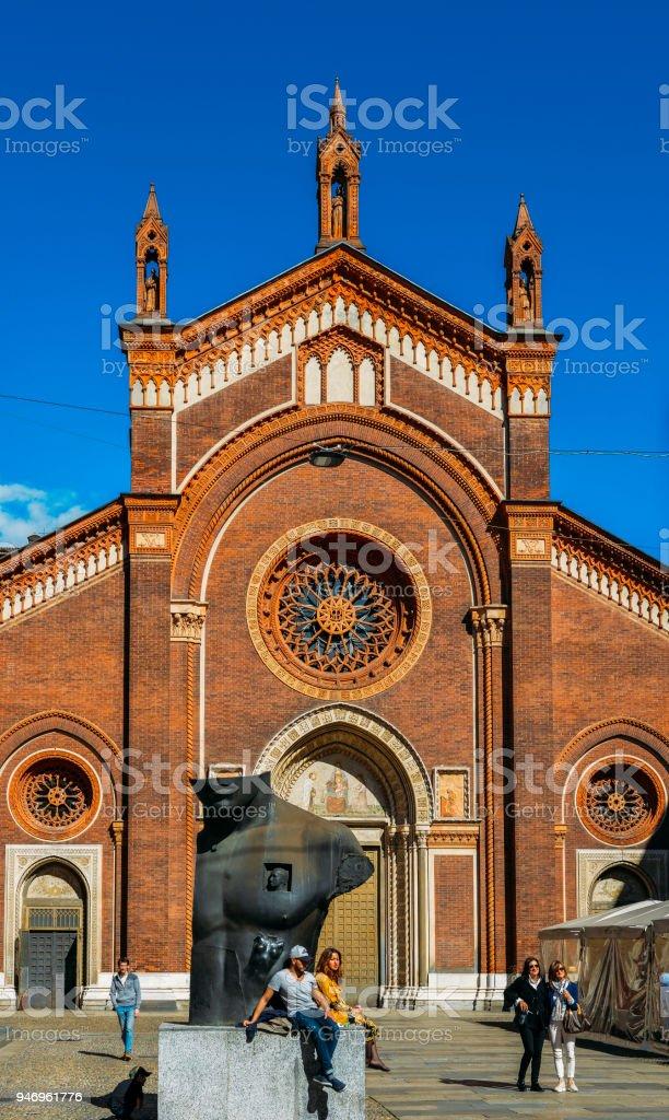 The front facade of Santa Maria del Carmine Church in Brera neighbourhood of Milan - foto stock