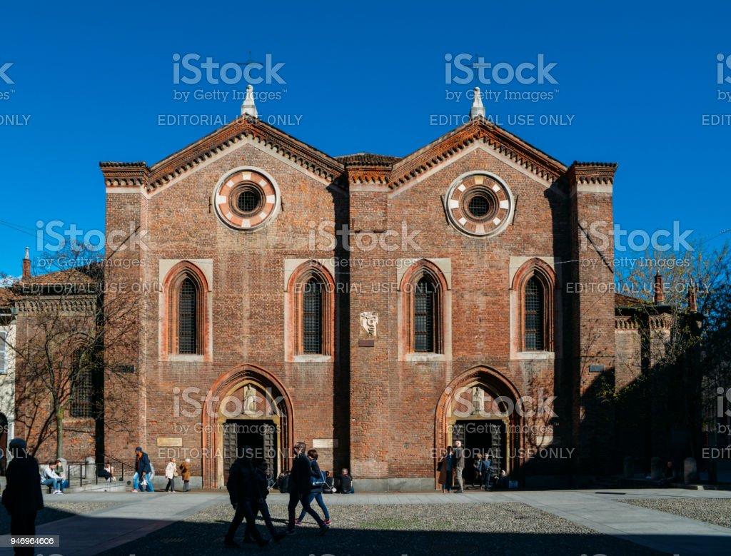 The front facade of the 14th century Santa Maria Incoronata Church on Corso Garibaldi - foto stock