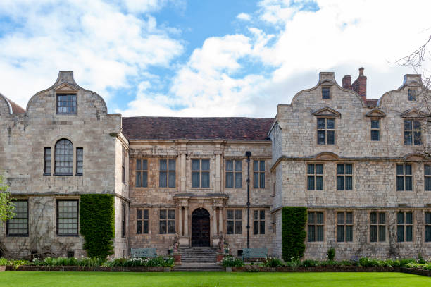The front facade of The Treasurers House, a historic building located directly to the North of York Minster in the city of York, North Yorkshire, England, UK stock photo