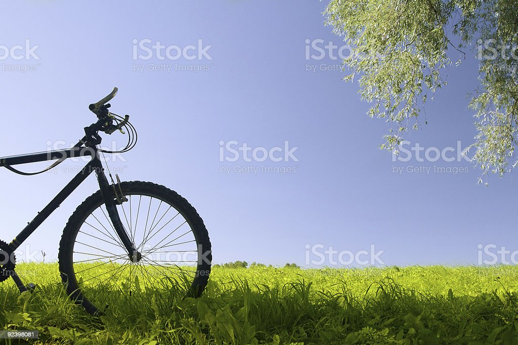 The front half of a mountain bicycle royalty-free stock photo