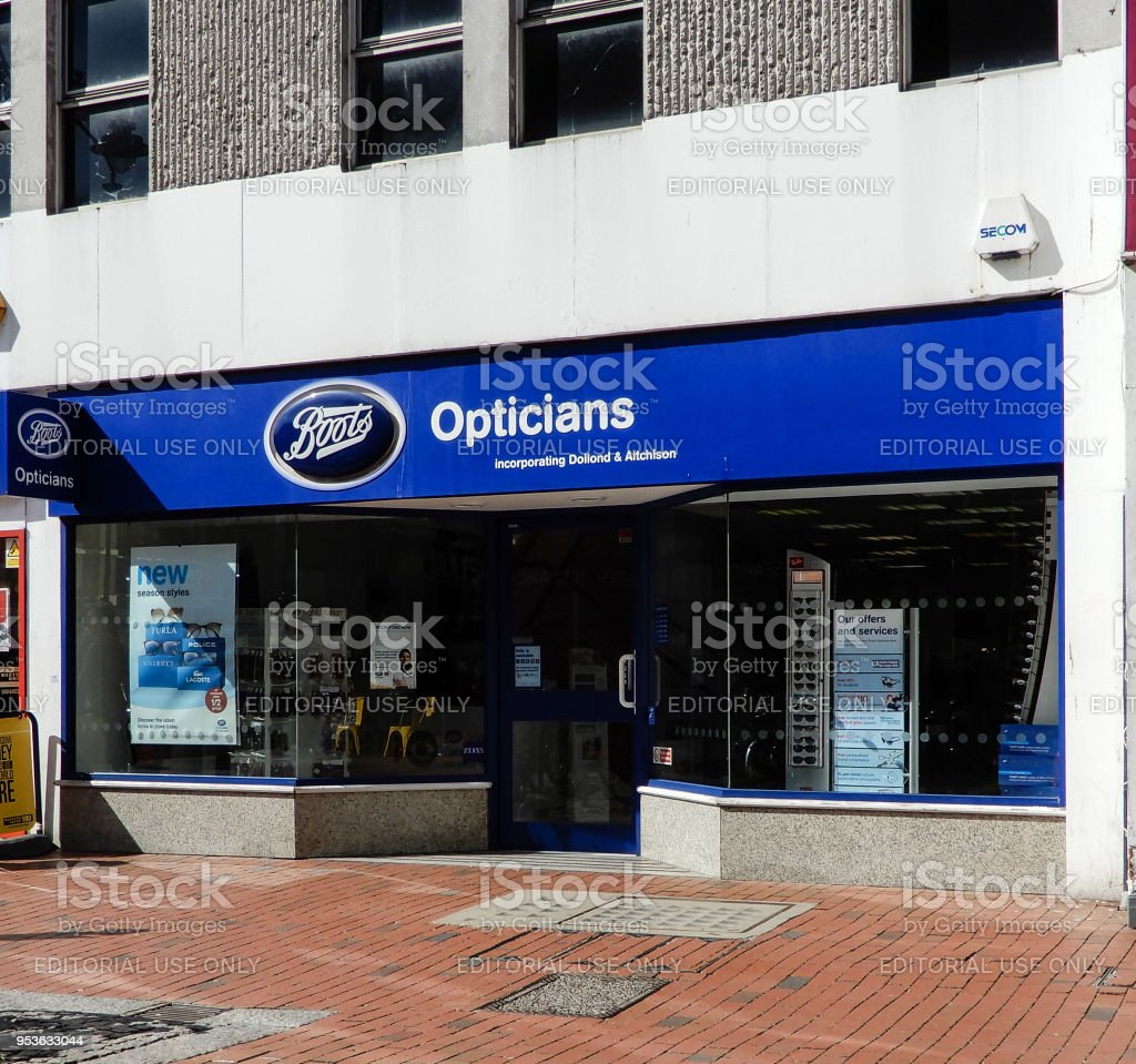 The front of Boots optician on Broad Street stock photo