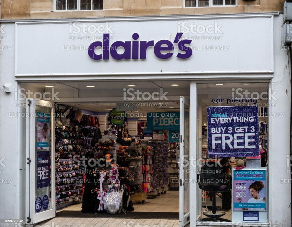 The Front of Claire's Accessories shop in Stall Street stock photo