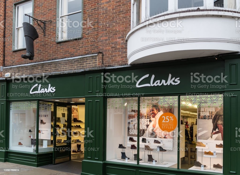 The front of Clarks shoe shop in East Street stock photo