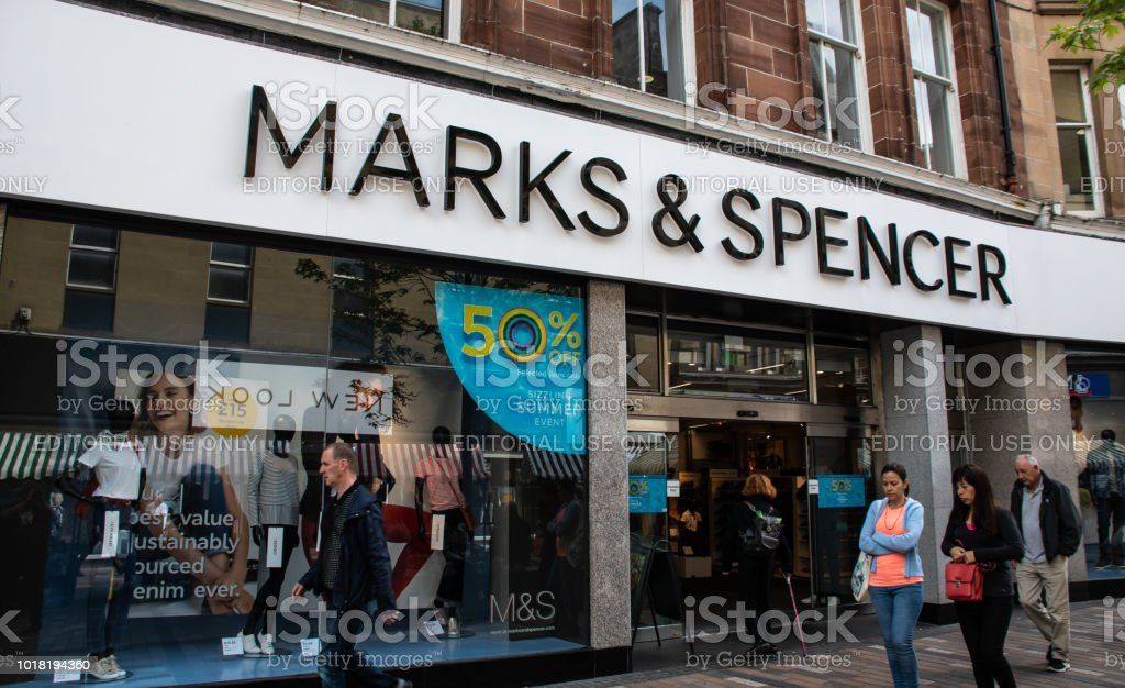 The front of Marks and Spencers M&S store in Port Street stock photo