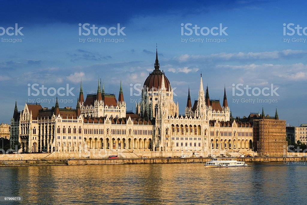 The front of parliament shot from across with river royalty-free stock photo
