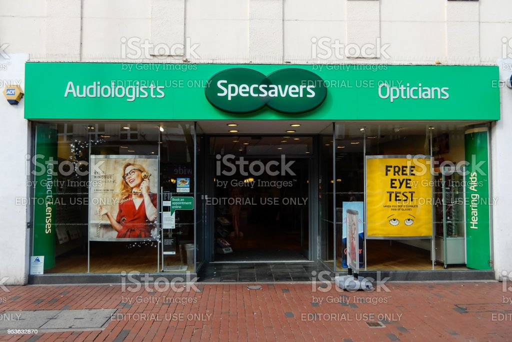 The Front of Specsavers on Broad Street stock photo
