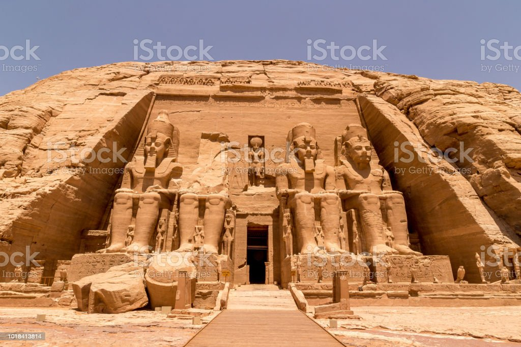The Front of the Abu Simbel Temple, Aswan, Egypt. stock photo