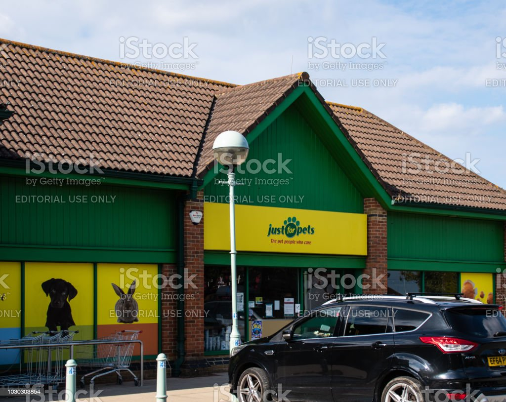 The Front of the Just for Pets Pet shop on Rushey Way in Lower Earley stock photo