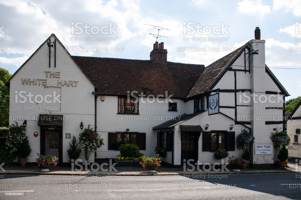 The front of the White Hart pub on Church Road stock photo