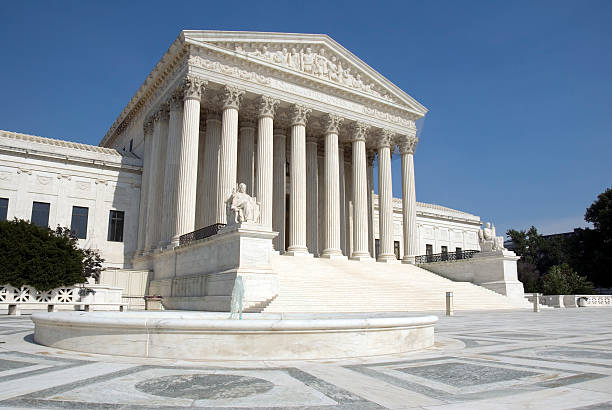The front steps of the United States Supreme Court The front of the US Supreme Court in Washington, DC. us supreme court building stock pictures, royalty-free photos & images