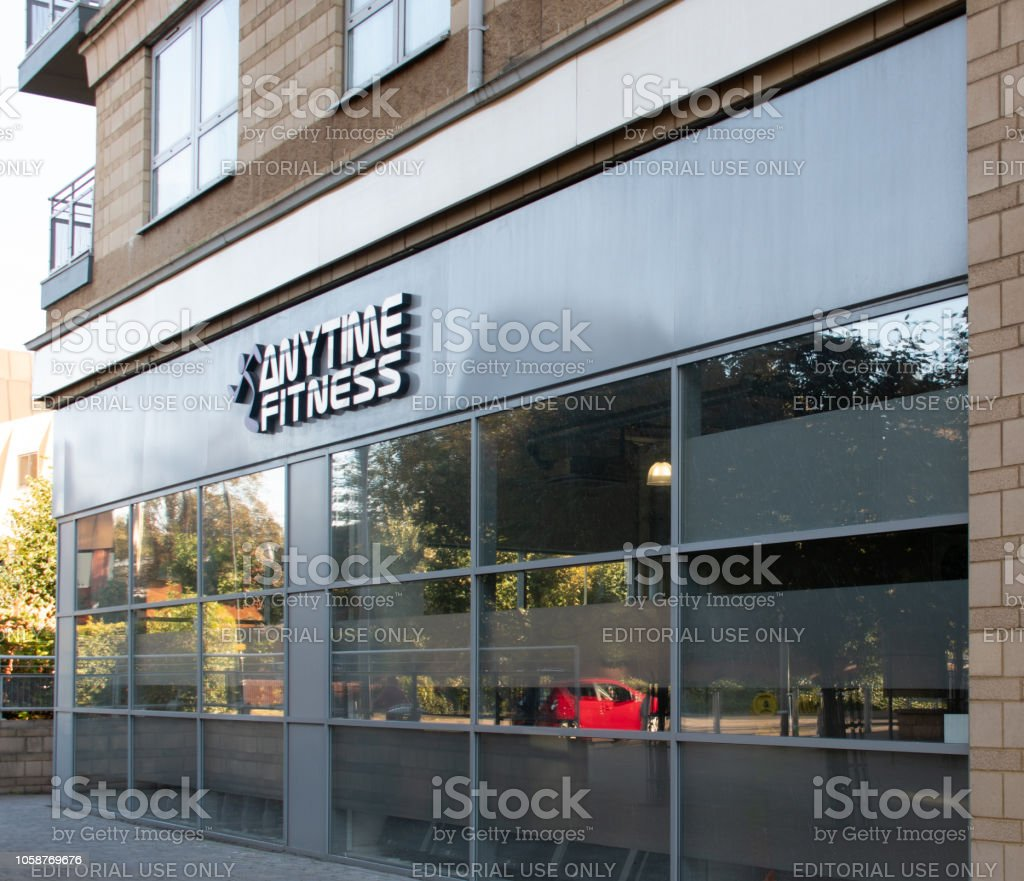 The frontage of Anytime Fitness Gymnasium in Alencon Link stock photo