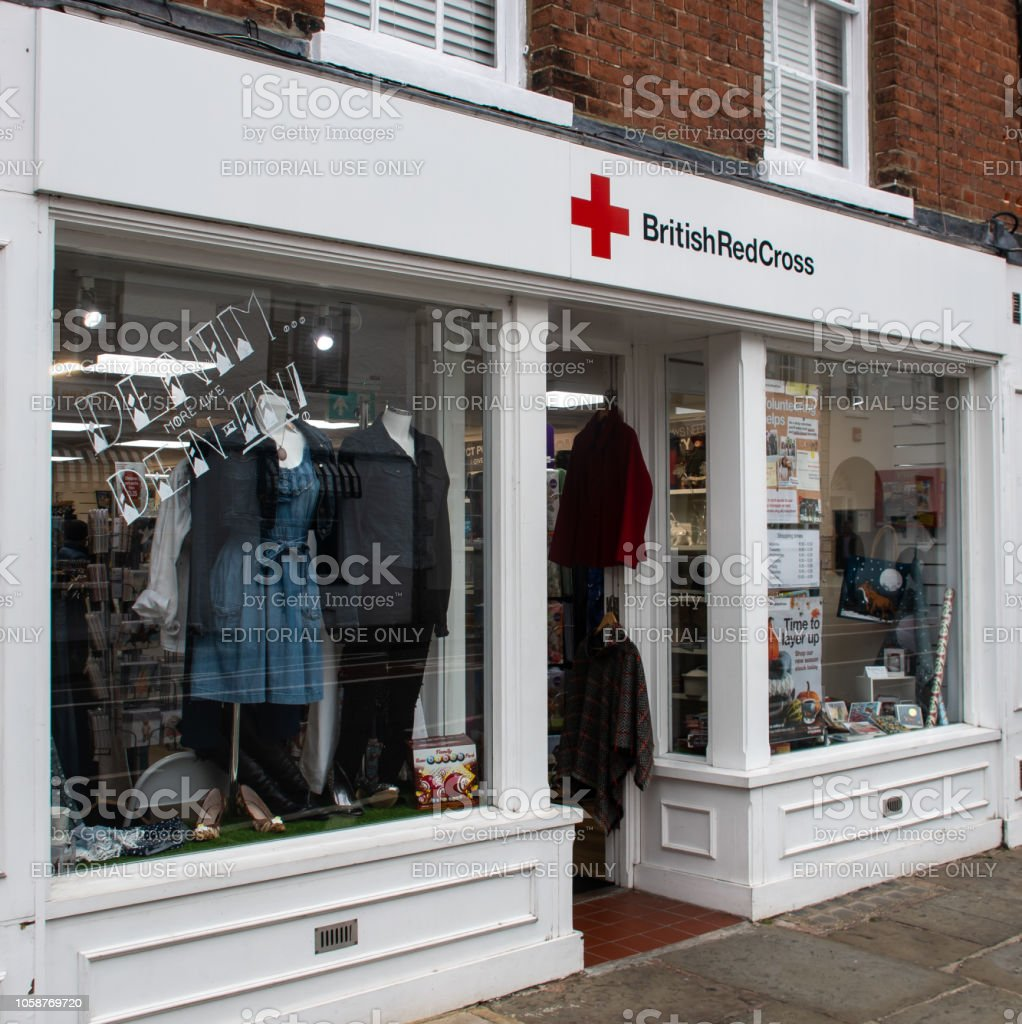 The frontage of the British Red Cross Charity shop in North Street stock photo