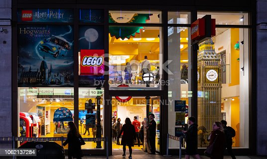 London, United Kingdom - October 18 2018:   The Frontage of the Lego Store in Leicester Square