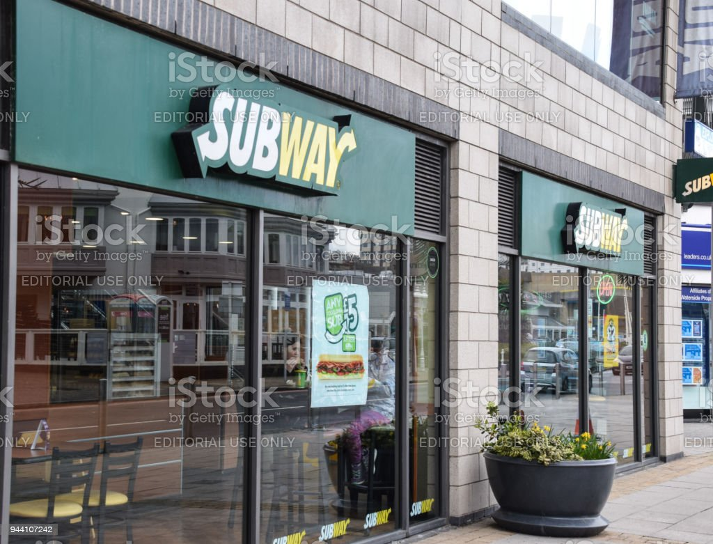 The frontage to Subway takeaway and Restaurant at Brighton Marina stock photo