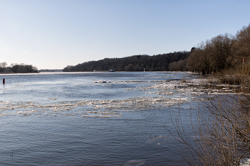 The frozen river Elbe near the city of Boizenburg in Mecklenburg Western Pomerania