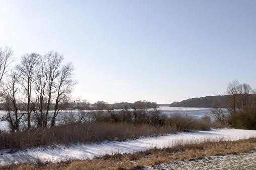 The frozen river Elbe near the city of Boizenburg in Mecklenburg Western Pomerania