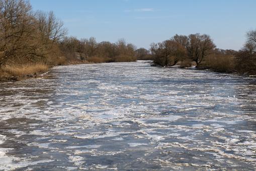 The frozen river Sude near the city of Boizenburg in Mecklenburg Western Pomerania