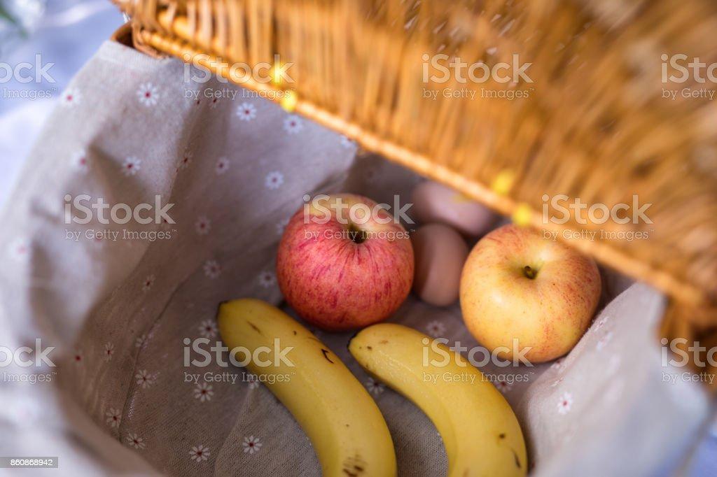 the fruit in the picnic basket stock photo