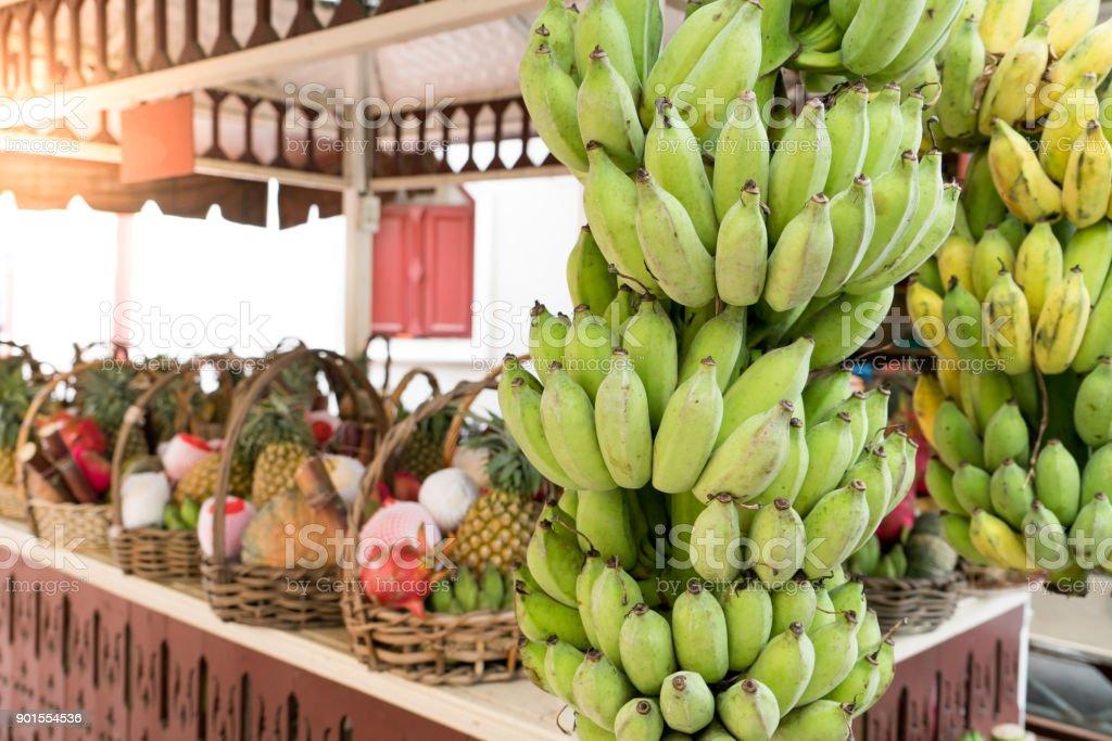 the fruit shop for dedicate, whole banana and fruit set stock photo