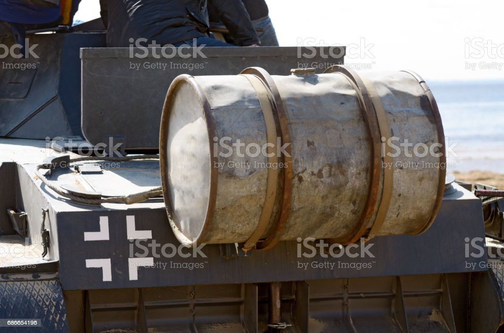 The fuel tank on the German tank . royalty-free stock photo
