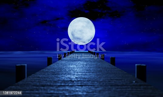The full moon at night was full of stars and a faint mist. A wooden bridge extended into the sea. Fantasy image at night, super moon, sea water wave. 3D Rendering